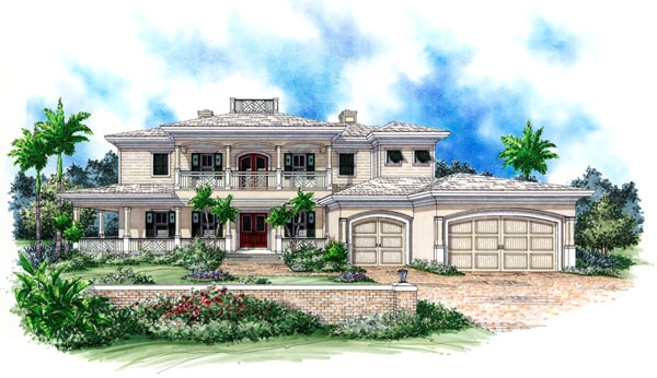 Emerald Bay front house plan elevation